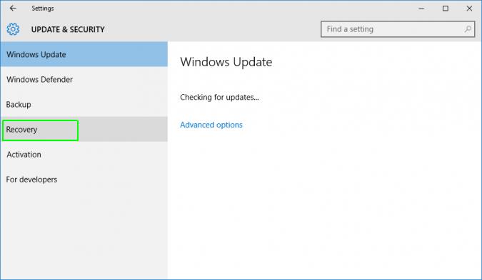 Resetting Windows 10 Step 3