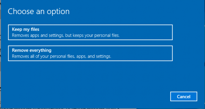 Choose a Win 10 Reset Option