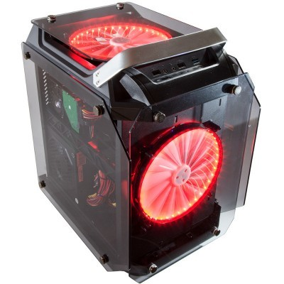 Contour Helios Red LED Fan ATX Tempered Glass Case Front Angled