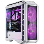 Coolermaster H500P Mesh White ATX PC Case side front angle